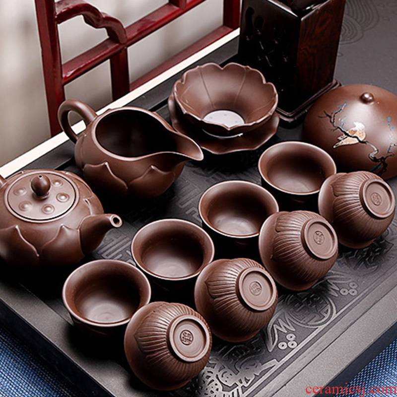 Undressed ore it 6 cups xi shi pot of kung fu tea set household contracted ceramic Chinese tea to restore ancient ways