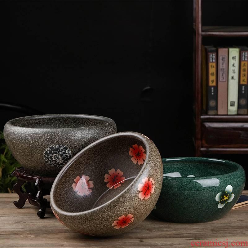 Jingdezhen ceramics aquarium hand - made sitting room desktop furnishing articles turtle tank goldfish bowl lotus lotus basin