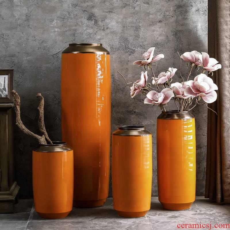 Vase furnishing articles of jingdezhen porcelain clay ceramic sitting room ground flower arrangement large flower implement retro light key-2 luxury jars