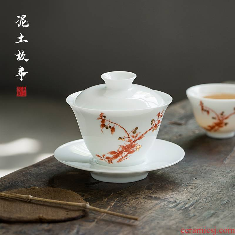 Flowers have fragrance pure manual three tureen them a single thin body ceramic bowl cups kung fu tea set