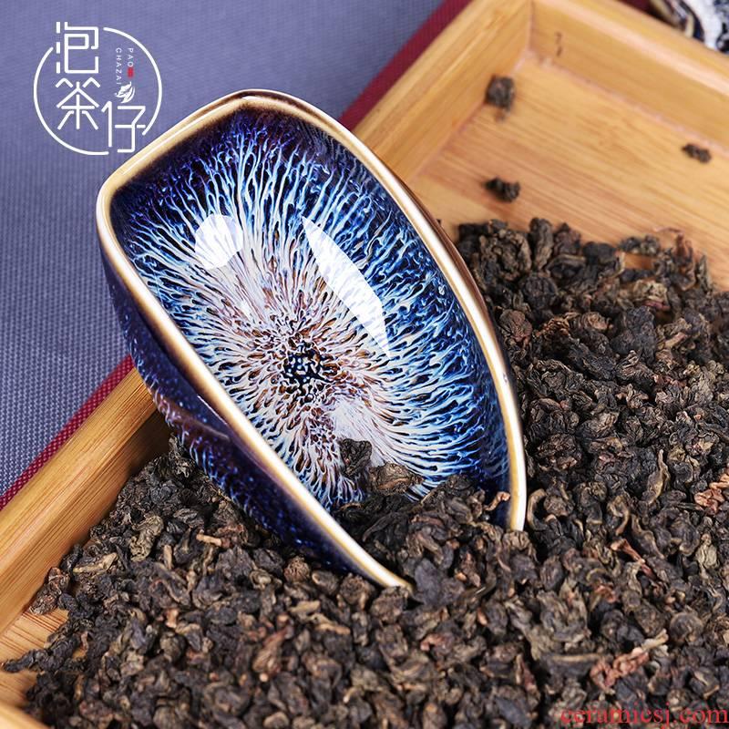 Tea seed meal holder, ceramic Tea to watch kung fu Tea Tea Tea obsidian variable temmoku take Tea accessories small teaspoon of Tea shovel