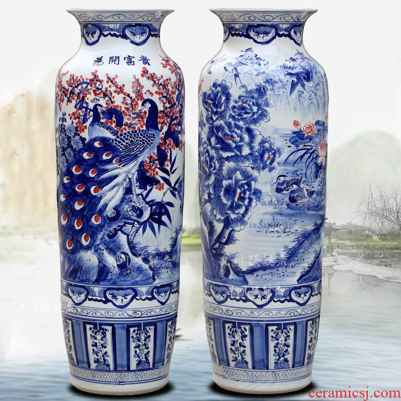Jingdezhen hand - made ceramic blooming flowers big vase home sitting room hotel of large quiver furnishing articles ornaments