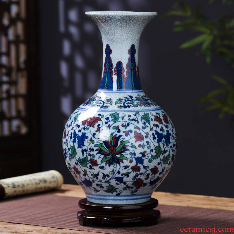 Jingdezhen porcelain ceramic color blue and white porcelain antique vase furnishing articles of new Chinese style household flower arrangement sitting room adornment