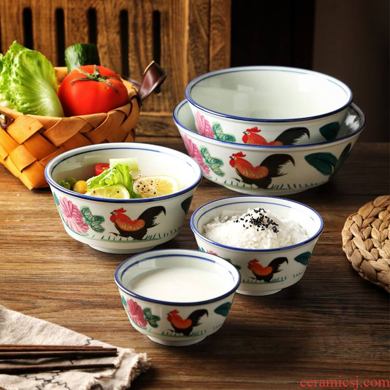 Hong Kong nostalgic rooster bowl home restaurant hotel chicken male ceramic bowl bowl of noodles bowl of soup bowl bowl creative horn
