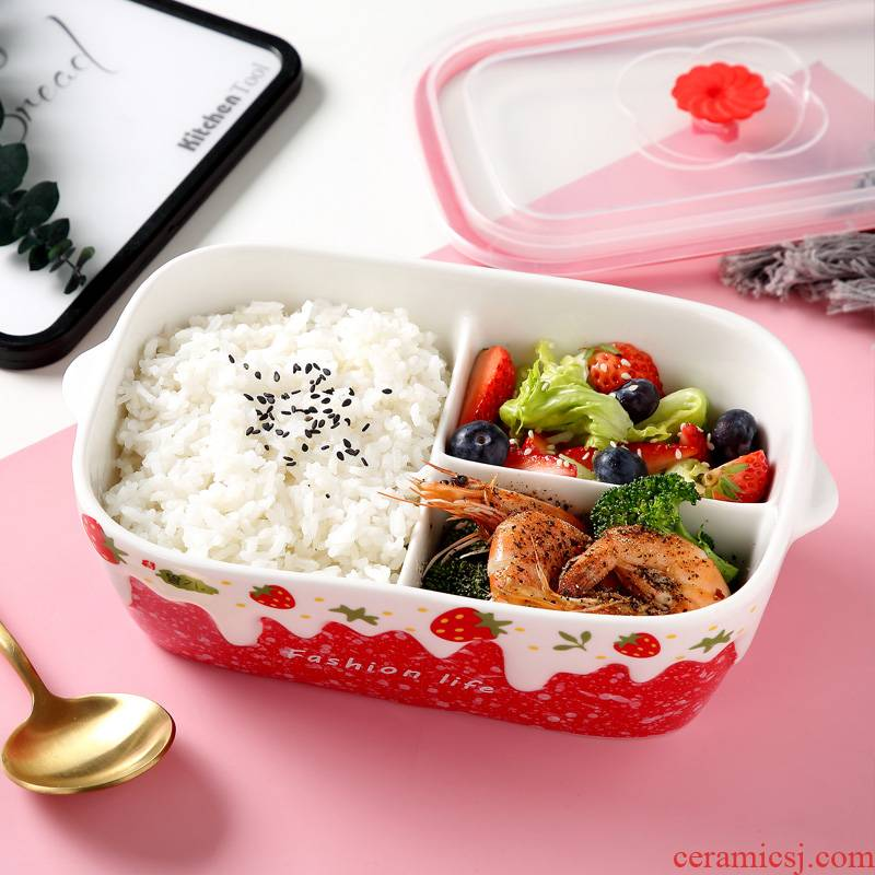 Ceramic separated fast food lunch box cover express idea three students working lunch box microwave preservation bowl