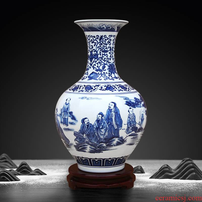 To the characters of blue and white porcelain vase furnishing articles office decoration porcelain industry of jingdezhen ceramics