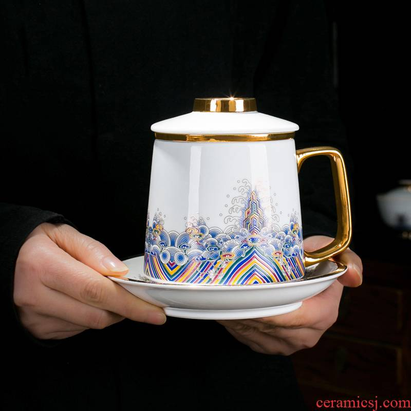 Jingdezhen ceramic cups single enamel boss, with cup handle cup with cover cup) filter glass