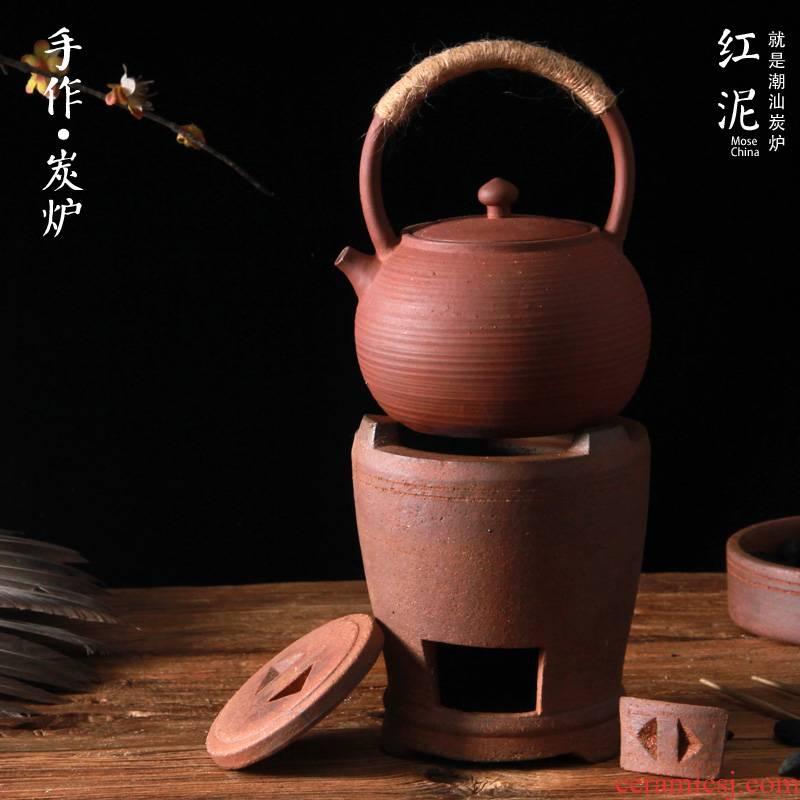 Manual charcoal stove to boil tea ware red mud kung fu tea stove girder kettle boil the teapot tea set carbon'm burning furnace coarse ceramic POTS