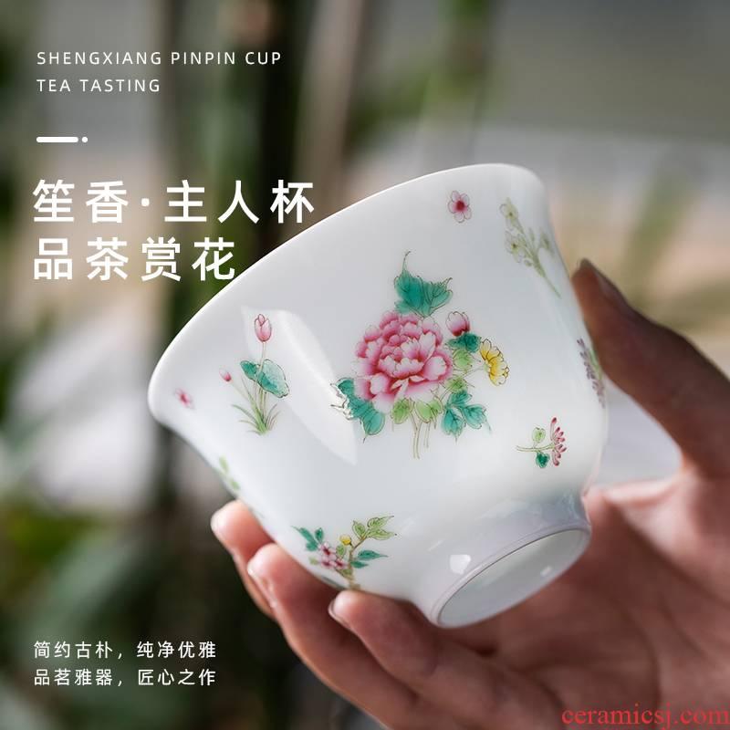 Sheng xiang & middot; Master cup jingdezhen pure manual painting a single kung fu tea cups large - sized ceramic tea set
