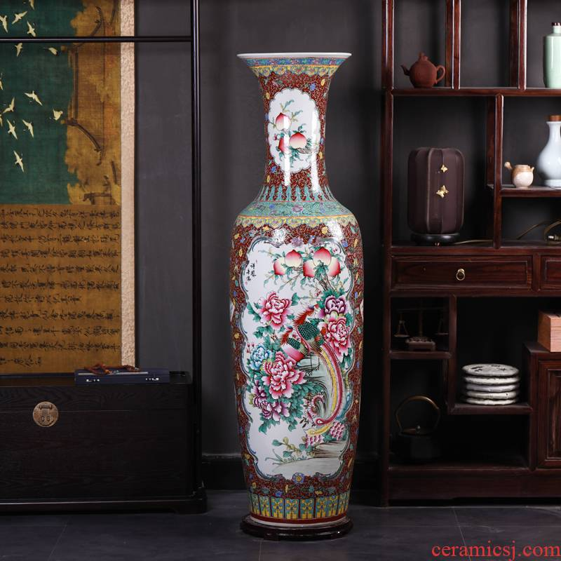 Jingdezhen ceramics of large vase archaize pastel hand - made hotel opening gifts sitting room office furnishing articles