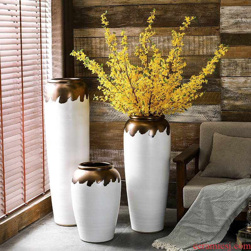 Vase furnishing articles sitting room of I and contracted flower arranging ground large European flower POTS of gold glaze decoration villa garden