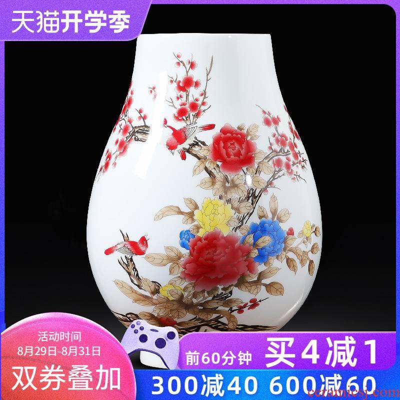 Jingdezhen ceramics powder enamel vase peony furnishing articles of Chinese style water raise porcelain big sitting room adornment handicraft