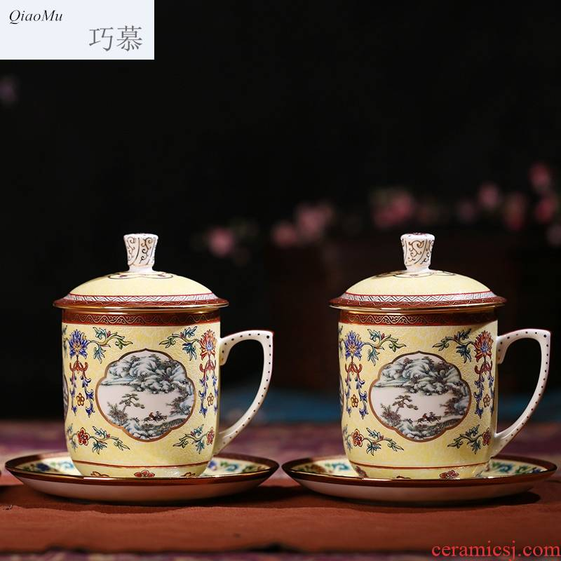 Qiao mu jingdezhen porcelain paint by hand ipads ceramic tea set office ou English afternoon tea with the cover