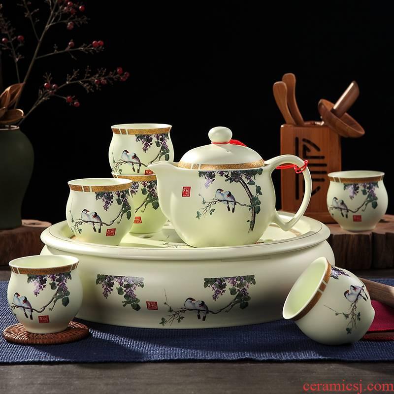 Jingdezhen tea sets tea home your up of a complete set of heat - resisting teapot tea tray ceramic cups kung fu tea set