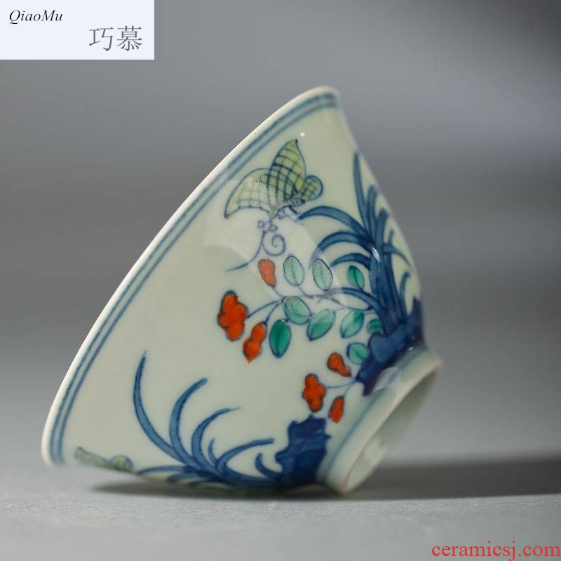 Qiao mu archaize of jingdezhen porcelain cup hand - made manual sowing and ploughing of da Ming chenghua year thin tire cup antiques