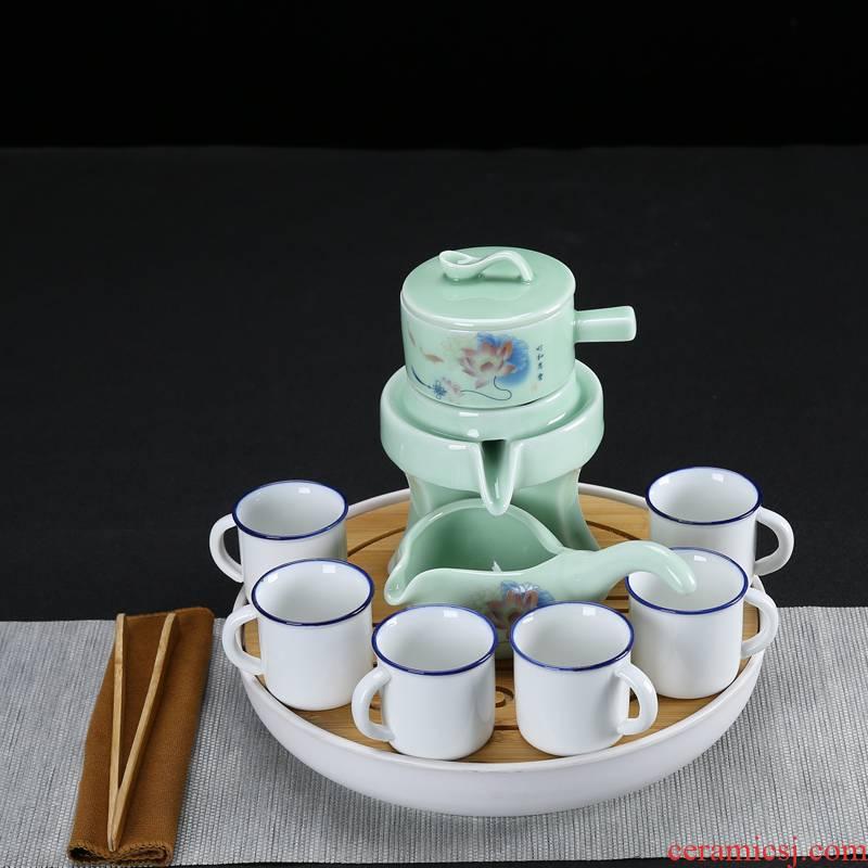 And a half stone mill automatic tea sets of household ceramics kung fu tea set creative lazy teapot hot tea. preventer