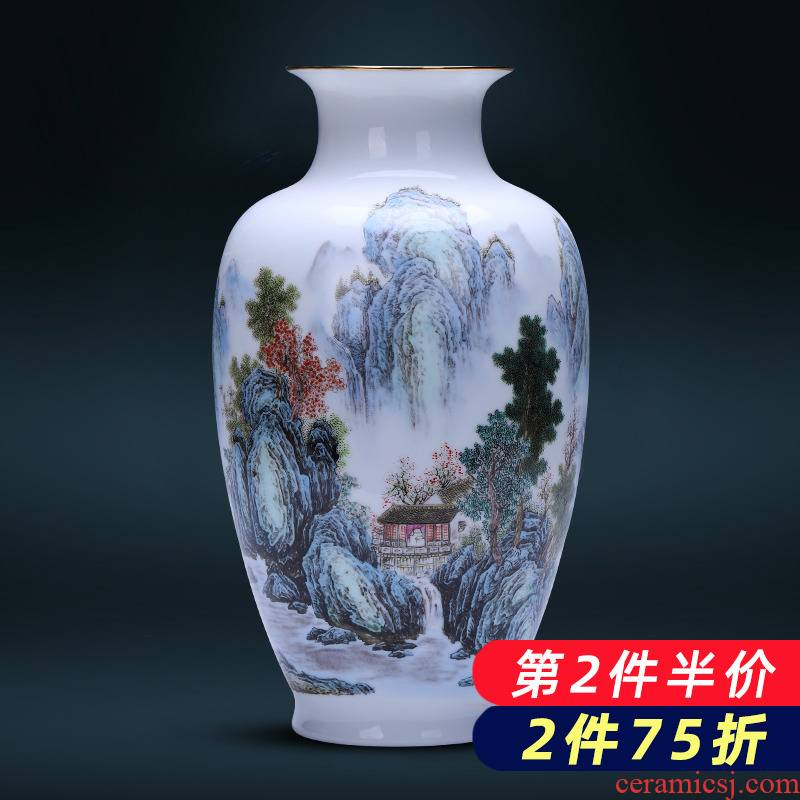 Jingdezhen porcelain ceramic powder enamel thin foetus vases, flower arranging furnishing articles of modern Chinese style household porcelain of the sitting room adornment