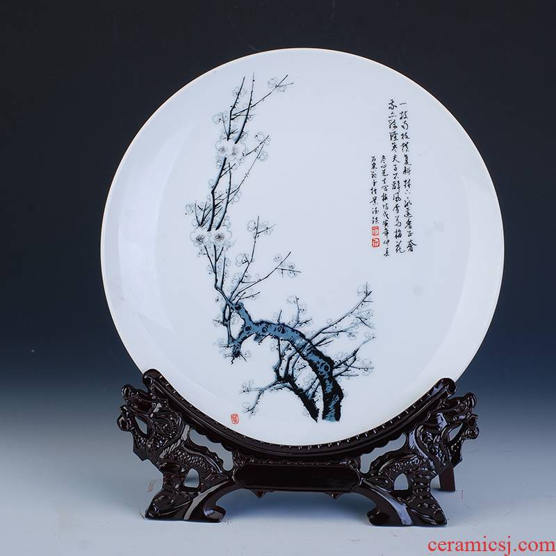 Hang dish of jingdezhen ceramics decoration plate of by patterns porcelain rhyme household adornment handicraft furnishing articles
