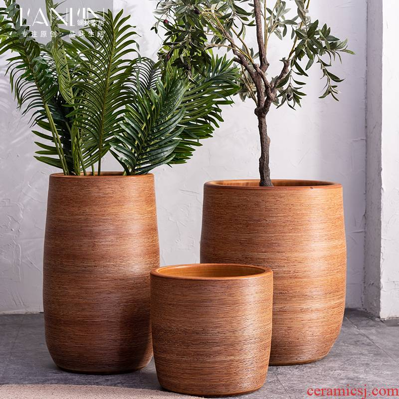 Nordic modern ceramic flower pot indoor green plant cylinder household act the role ofing is tasted sitting room adornment is placed modern ground vase