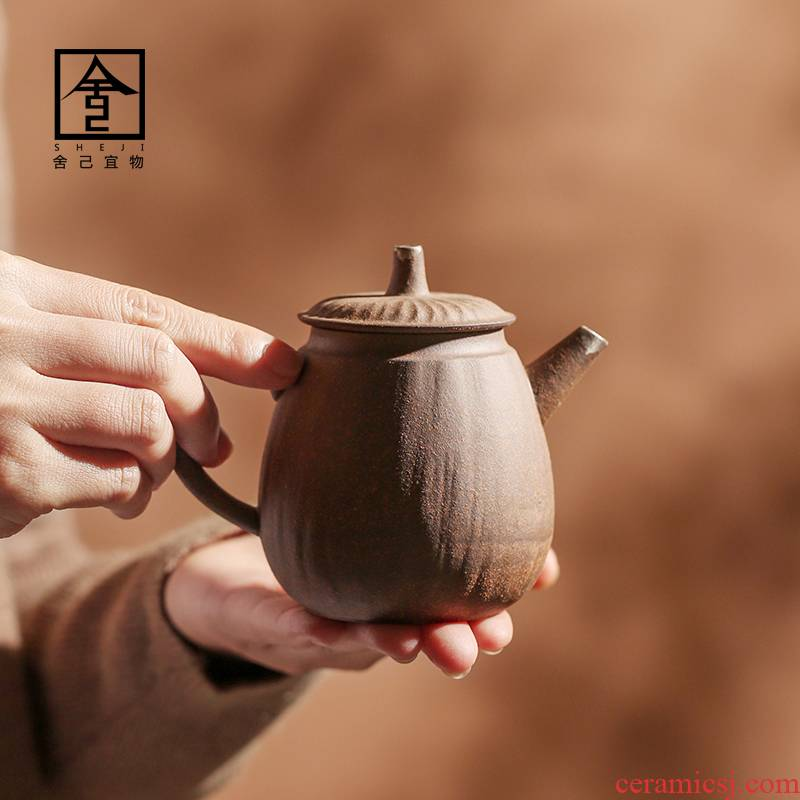 "The Self - ""appropriate content Japanese rock, mud manual teapot coppering. As silver teapot jingdezhen ceramics single pot of kung fu tea set is small"