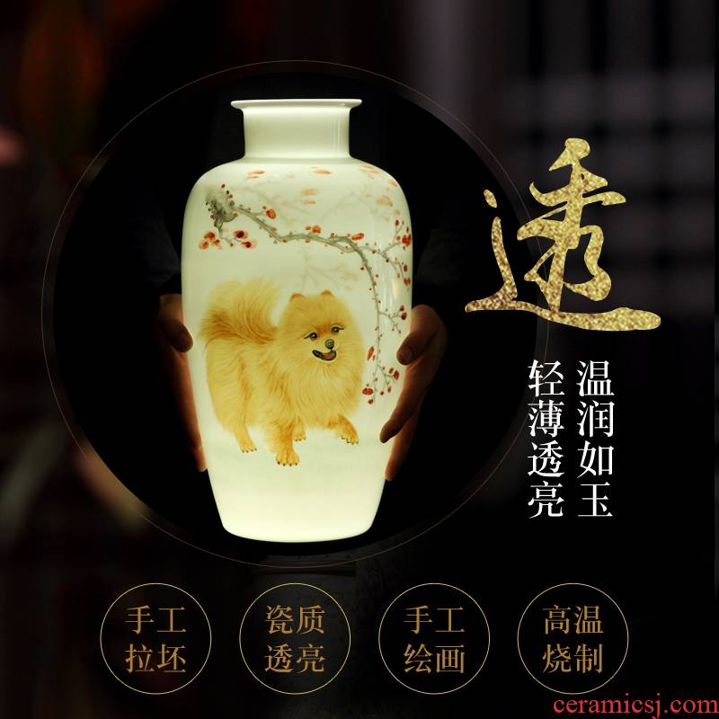 Jingdezhen vase thin body new color hand - made mesa and exquisite porcelain vase