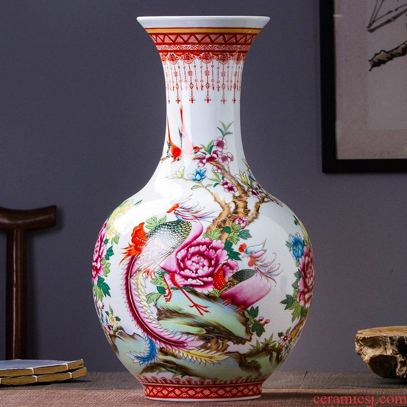 Master hand of jingdezhen porcelain enamel 467 flower vase household sitting room adornment style rich ancient frame furnishing articles