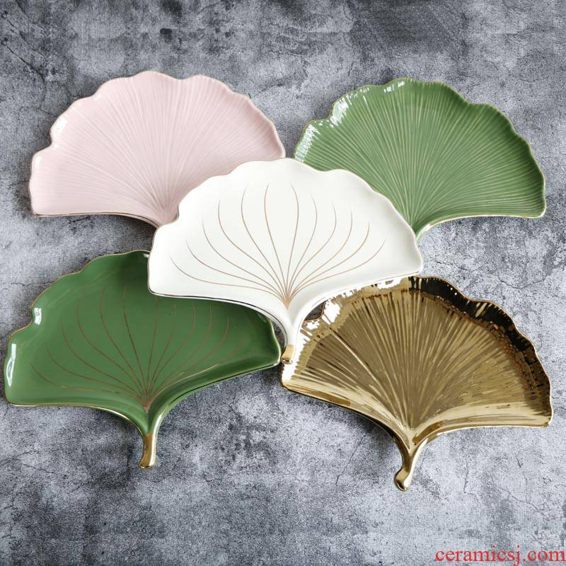 INS Nordic fuels the ginkgo biloba ceramic disc western food steak pan home decoration plate jewelry to receive photo props