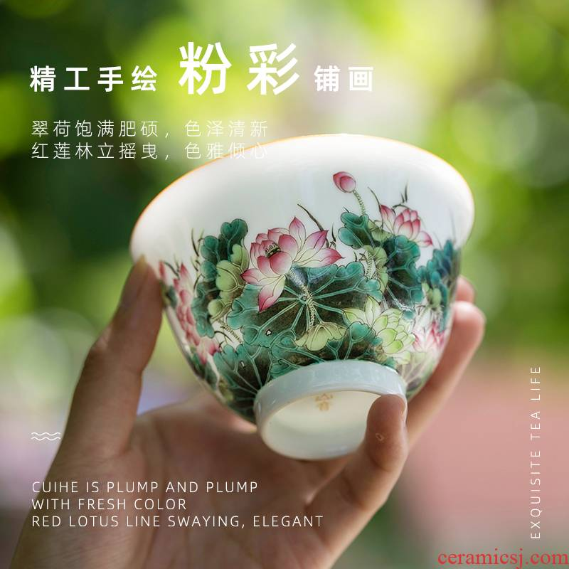 Summer lotus masters cup jingdezhen pure manual painting ceramic cups, small sample tea cup single kung fu tea cups