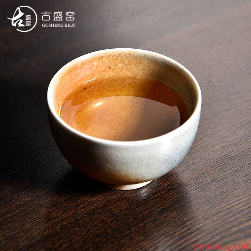 Ancient sheng up checking ceramic masters cup retro tea cups individual cup of kung fu tea set wild plant ash wood'm