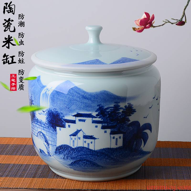 Jingdezhen hand - made ceramic ricer box 20 jins the loaded with cover barrel moistureproof insect - resistant flour barrels of kitchen household storage tank
