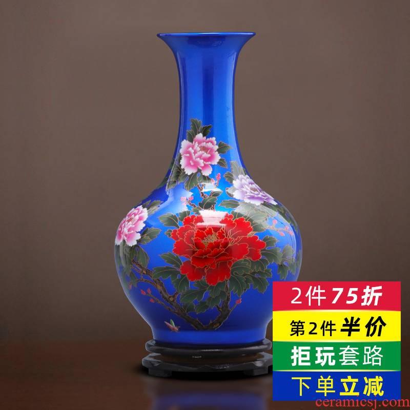 Jingdezhen porcelain ceramic blue crystal glaze vase furnishing articles sitting room TV ark, of Chinese style household adornment arranging flowers