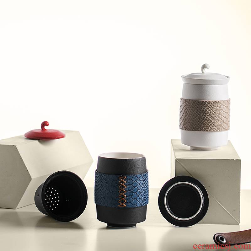 RenXin porcelain keller with cover the custom office filter tea cup travel large capacity of portable package