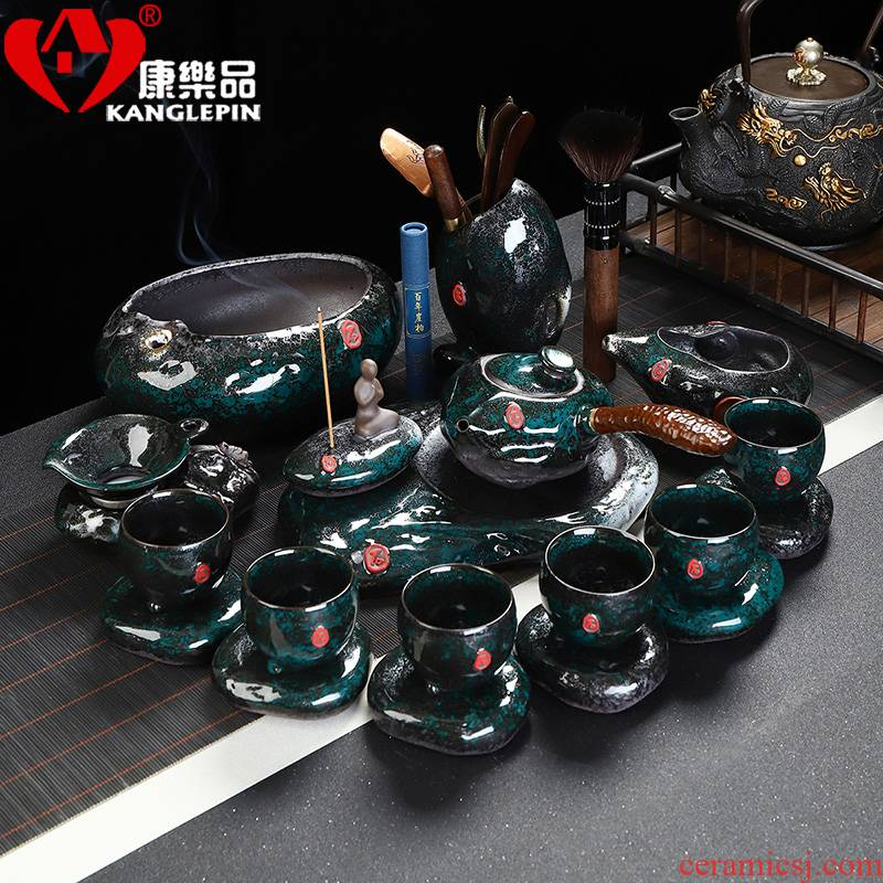 Recreational tea suit emerald temmoku home a whole set of jingdezhen ceramics office kung fu tea pot gift box