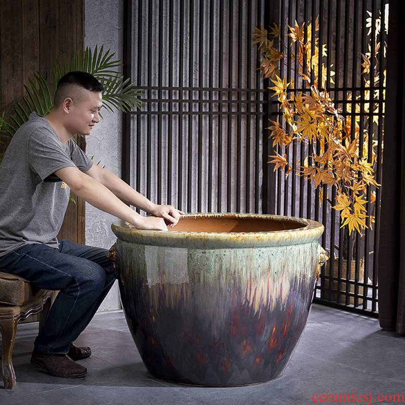 Jingdezhen ceramic water lily lotus super - large restoring ancient ways is the courtyard hotel lion ear tank town curtilage potted VAT to plant trees