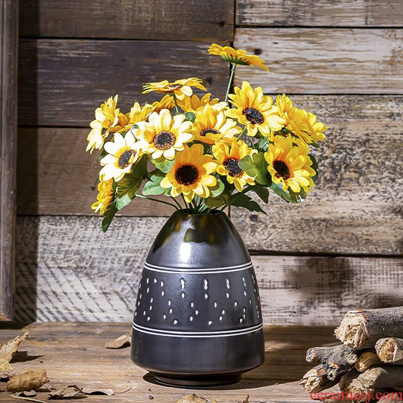 Contracted and I sitting room of black mesa of creative art ceramic vase northern wind furnishing articles flowers aqua dried flowers
