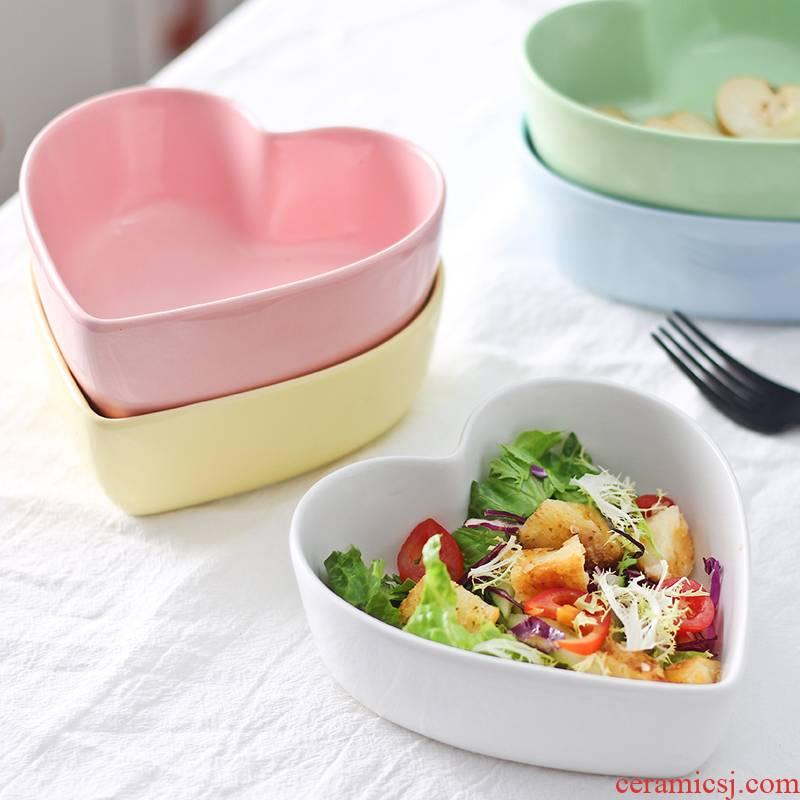 Heart - shaped bowl love steamed egg bowl of candy color ceramic bowl dessert salad bowl, lovely cake oven baked snack bowl bowl