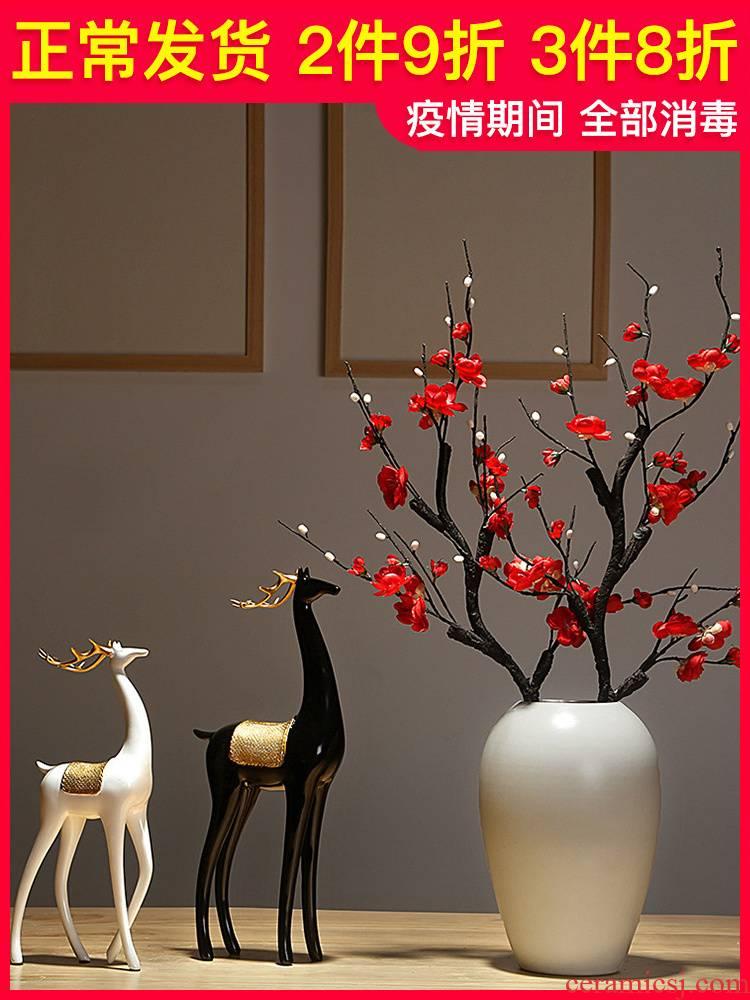 Jingdezhen vase craft ceramics new Chinese style living room porch decoration flower arranging dried flower creative handicraft furnishing articles