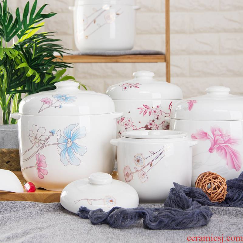 Ceramic household water stew with cover double cover ears cup steamed egg cup stew pot stewed bird 's nest side dish soup bowl dish bowl of stew