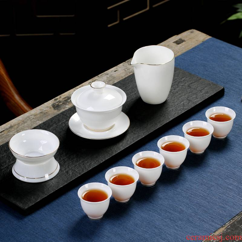 The Poly real scene suet jade kung fu tea set household custom sitting room office receive a visitor dehua white porcelain tureen tea cups