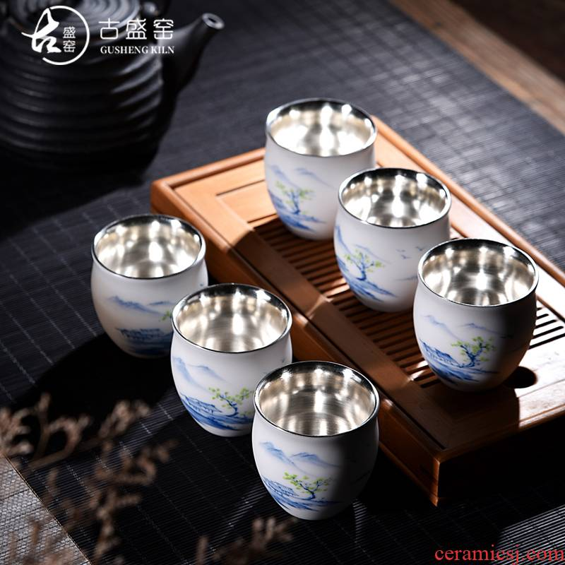 The ancient up new landscape silver tea light manual coppering. As silver cup white porcelain cup single hand - made ceramic sample tea cup host