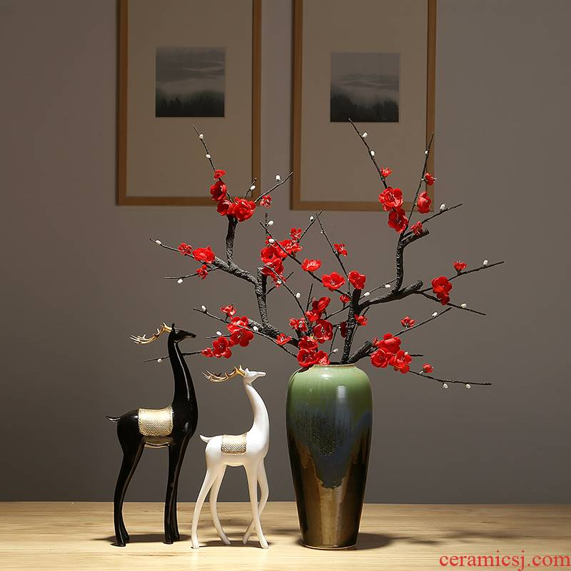 New Chinese style is contracted vase dried flowers decorative home furnishing articles sitting room flower arranging simulation ceramics decoration