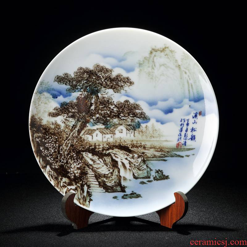 Chinese style decoration plate furnishing articles ceramic hang dish plate wall decoration home sitting room desktop creative process by plate