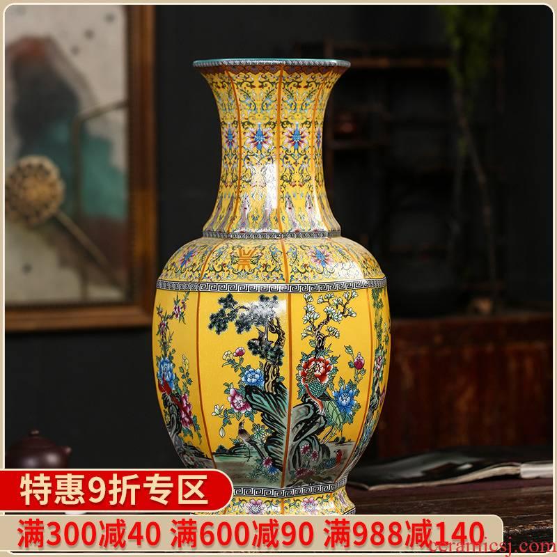 Jingdezhen ceramics flower arranging Chinese style pastel colored enamel vase imitation antique furnishing articles rich ancient frame decorate the study