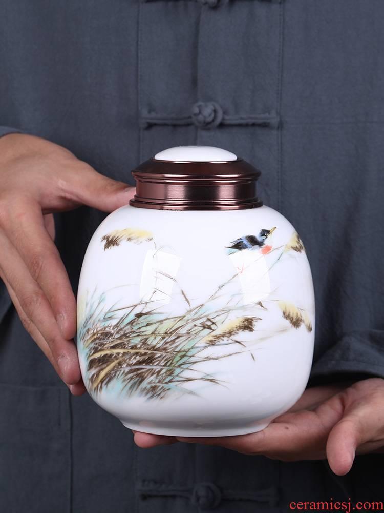 The Metal ceramic tea pot small seal pot put tea POTS creative household half jins moisture storage POTS