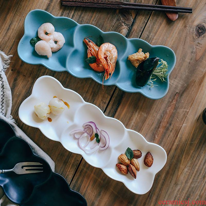 Northern wind creative Japanese - style seasoning dishes three restoring ancient ways is sushi plate cold dish plate ceramic dumplings disc separator plate
