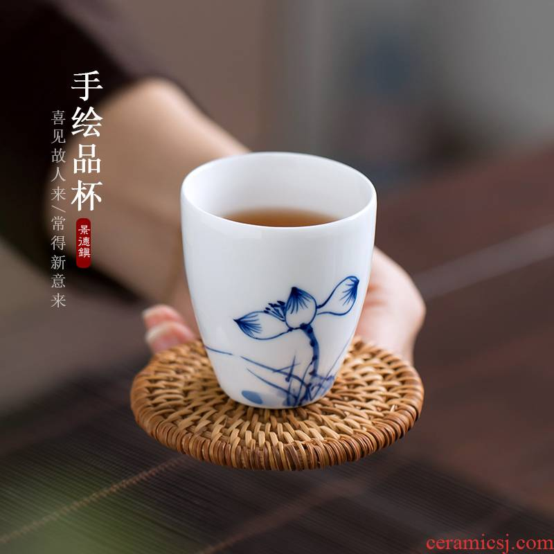The Poly real view jingdezhen hand - made charm of kung fu tea cups of blue and white porcelain ceramic cups but small tea cups