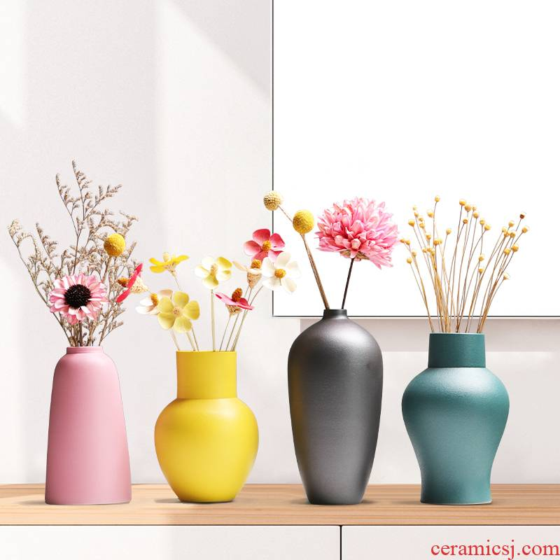 Nordic ins morandi ceramic vase furnishing articles creative contracted wind dried flower arranging flowers sitting room decorate household act the role ofing is tasted