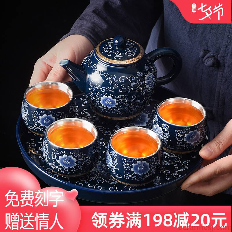 Jingdezhen household kung fu tea tea set tea service office to receive a visitor a small set of pot of four cups coppering. As silver tea set