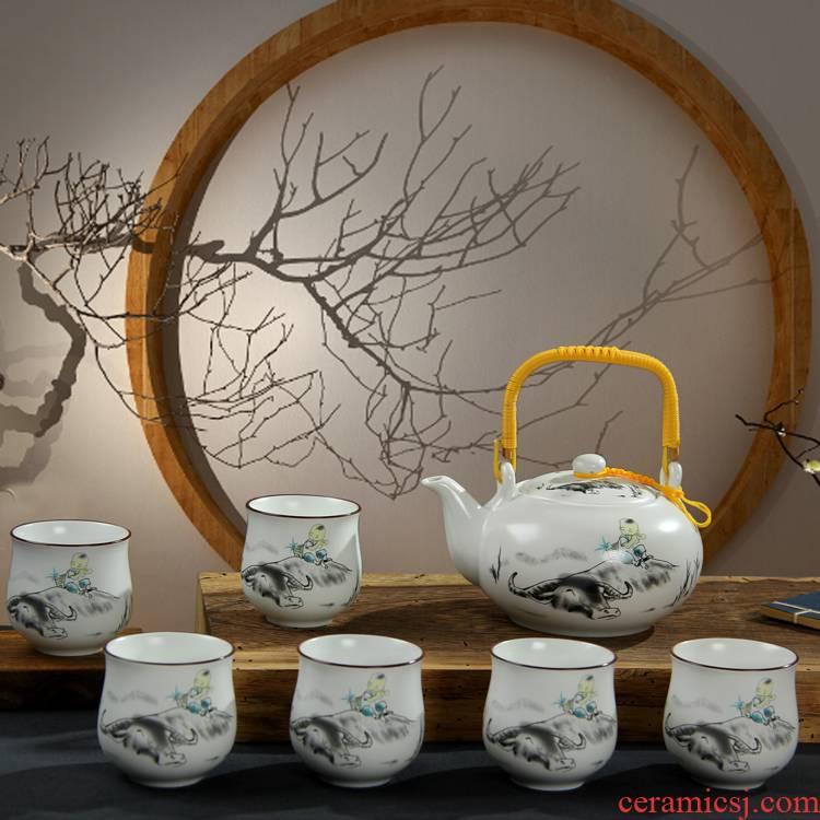 Jingdezhen girder pot of tea set up high - capacity teapot teacup kung fu tea set of a complete set of household water kettle