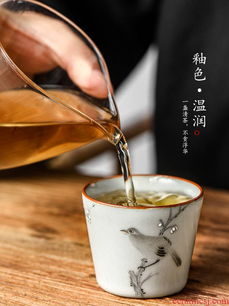 Jingdezhen your up open cup up master cup pure manual sample tea cup single CPU hand - made painting of flowers and kung fu tea cups